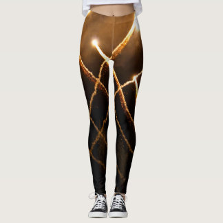 Sparkly gold fireworks light streak photo leggings