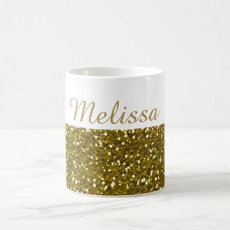 Sparkly Gold Glitter Custom Name Classic White Coffee Mug