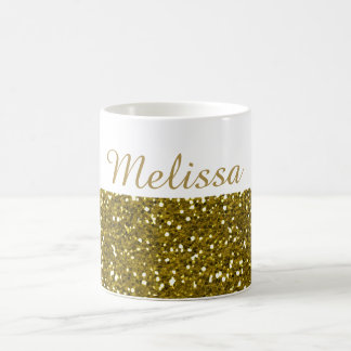 Sparkly Gold Glitter Custom Name Coffee Mug