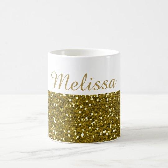 bfbba5c9c3c Sparkly Gold Glitter Custom Name Coffee Mug