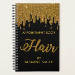 "Sparkly Gold Glitter Hair Appointment Book Planner<br><div class=""desc"">Trendy Modern Hair Appointment Book. Design features gold glitter dripping on the front and hair script in modern script. Add your name to make it your own. Perfect for hairdressers,  studio etc. For further customization,  please click the ""customize further"" link and use our design tool to modify this template.</div>"