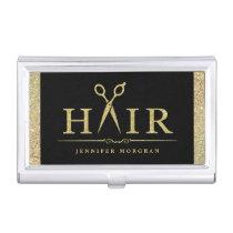 Sparkly Gold Glitter Hair Stylish Beauty Salon Business Card Case