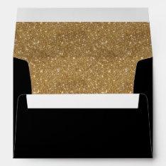 Sparkly Gold Glitter Liner Black Invitation Envelope at Zazzle