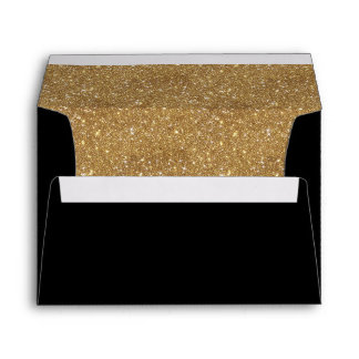 Sparkly gold glitter liner black invitation envelope