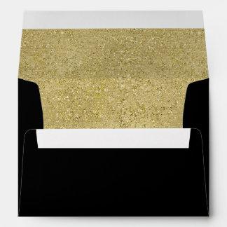 Sparkly gold glitter liner black invitation envelope