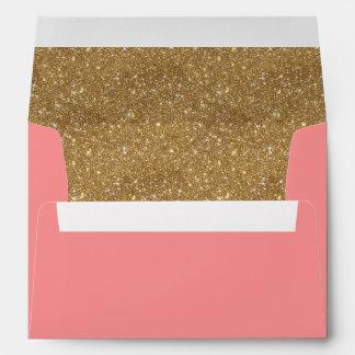Sparkly gold glitter liner pink invitation envelope