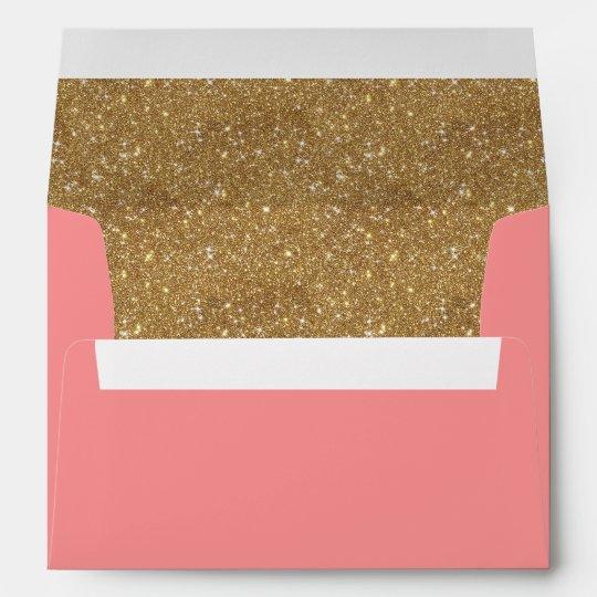 sparkly gold glitter liner pink invitation envelope zazzle com