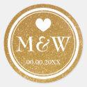 Sparkly gold monogram wedding favor stickers seals