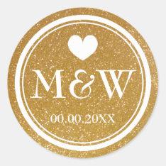 Sparkly Gold Monogram Wedding Favor Stickers Seals at Zazzle