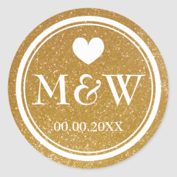 Sparkly gold monogram wedding favor stickers seals