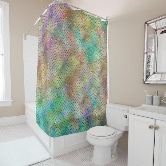 Sparkly Gold Rainbow Lights Chevron Pattern Print Shower Curtain