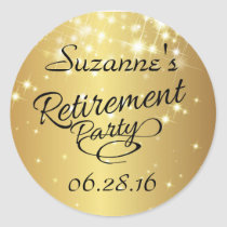 Sparkly Gold Retirement Stickers