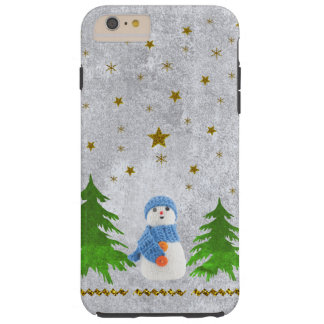 Sparkly gold stars, snowman and green tree tough iPhone 6 plus case