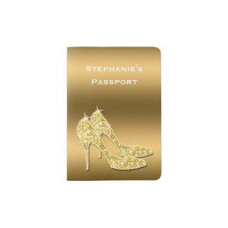 Sparkly Gold Stiletto Shoes Passport Holder