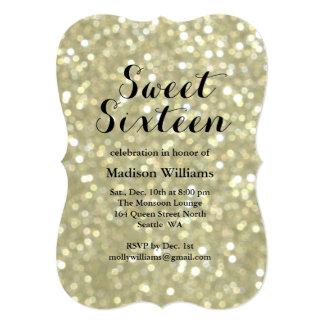 Sparkly Gold Sweet 16 Birthday Invitation