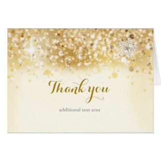 Sparkly Golden Holiday Christmas Invitation Card