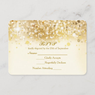 Sparkly Golden Lights Elegant RSVP Invitation Card