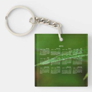 Sparkly Green Leaves; 2013 Calendar Keychain