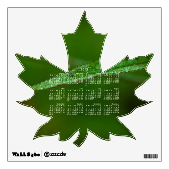 Sparkly Green Leaves; 2013 Calendar Wall Sticker