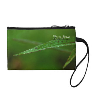 Sparkly Green Leaves; Customizable Coin Purse