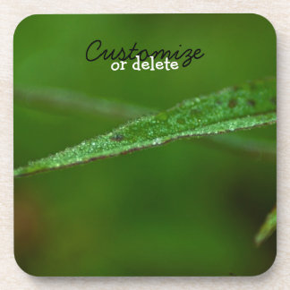 Sparkly Green Leaves; Customizable Drink Coaster