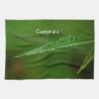 Sparkly Green Leaves; Customizable Hand Towels