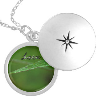 Sparkly Green Leaves; Customizable Round Locket Necklace