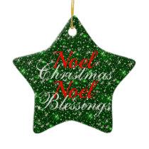 Sparkly Green Noel Christmas Blessings Ceramic Ornament