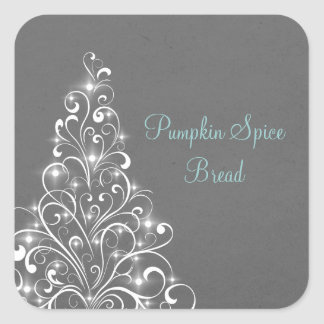 Sparkly Holiday Tree Baking Stickers, Gray Square Sticker