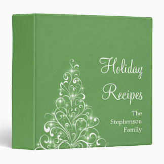 Sparkly Holiday Tree Binder (1.5 inch), Green