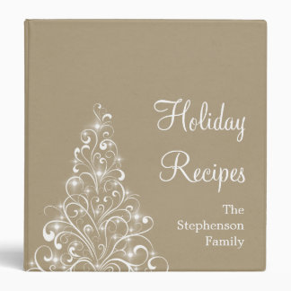 Sparkly Holiday Tree Binder (1.5 inch), Latte