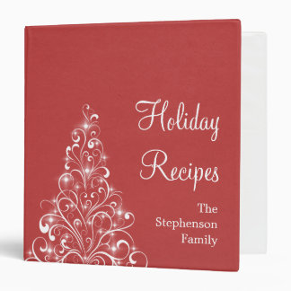 Sparkly Holiday Tree Binder (1.5 inch), Red