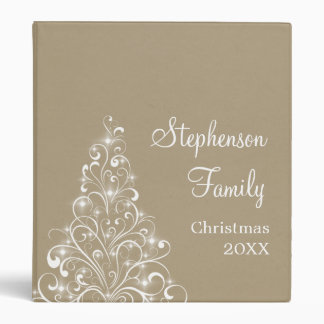 Sparkly Holiday Tree Binder (1 inch), Latte