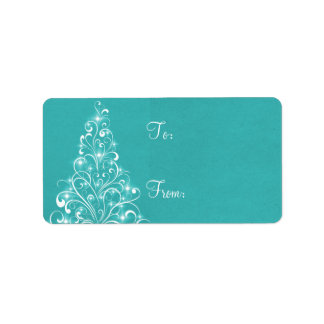 Sparkly Holiday Tree Gift Tags, Aqua Personalized Address Label