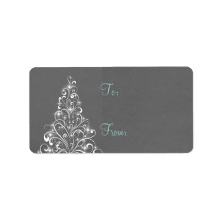 Sparkly Holiday Tree Gift Tags, Gray Custom Address Labels