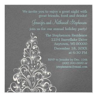 Sparkly Holiday Tree Invite, Dark Gray Card