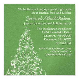 Sparkly Holiday Tree Invite, Green Card
