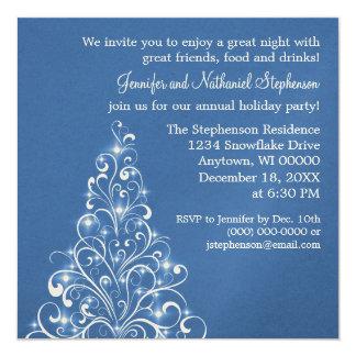 Sparkly Holiday Tree Invite, Royal Blue Card