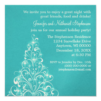 Sparkly Holiday Tree Invite, Teal Card