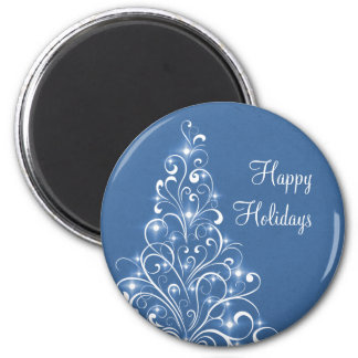Sparkly Holiday Tree Magnet, Blue