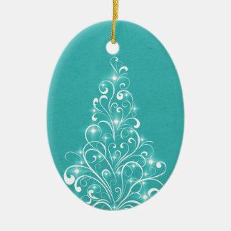 Sparkly Holiday Tree Oval Ornament Aqua