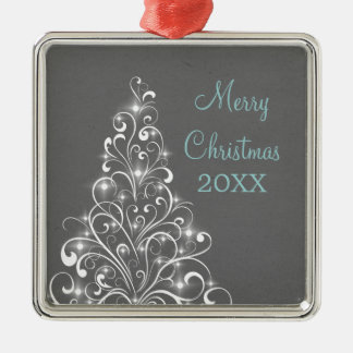 Sparkly Holiday Tree Premium Ornament, Gray Metal Ornament