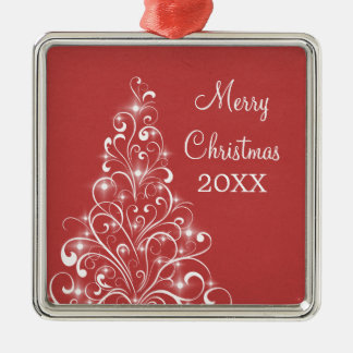 Sparkly Holiday Tree Premium Ornament, Red Metal Ornament