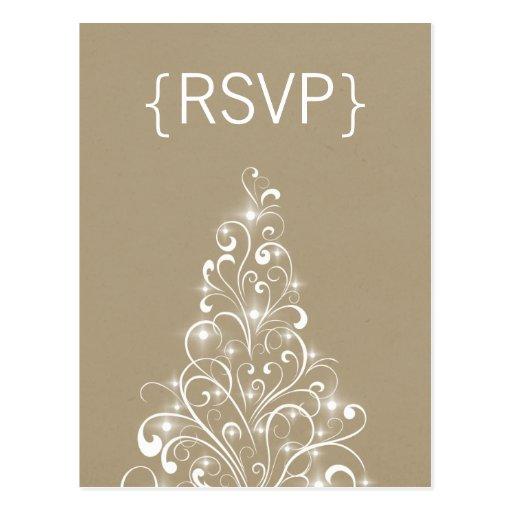 Sparkly Holiday Tree RSVP Postcard, Latte