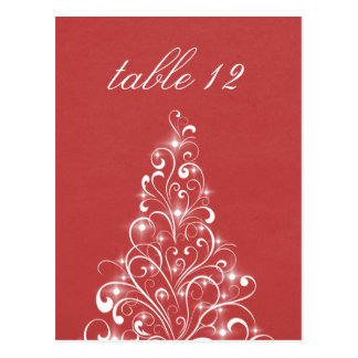 Sparkly Holiday Tree Table Postcard, Red