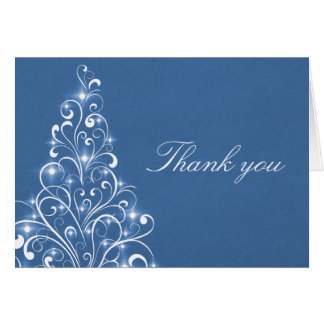 Sparkly Holiday Tree Thank You Card Blue