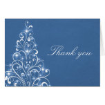 Sparkly Holiday Tree Thank You Card, Blue Stationery Note Card