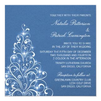 Sparkly Holiday Tree Wedding Invite, Blue Card