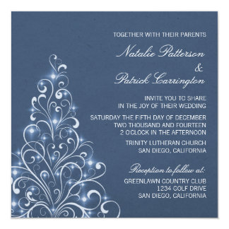 Sparkly Holiday Tree Wedding Invite, Dark Blue Card