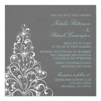 Sparkly Holiday Tree Wedding Invite, Gray Card